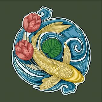 Koi yamabuki ogon i ilustracja kwiat lotosu