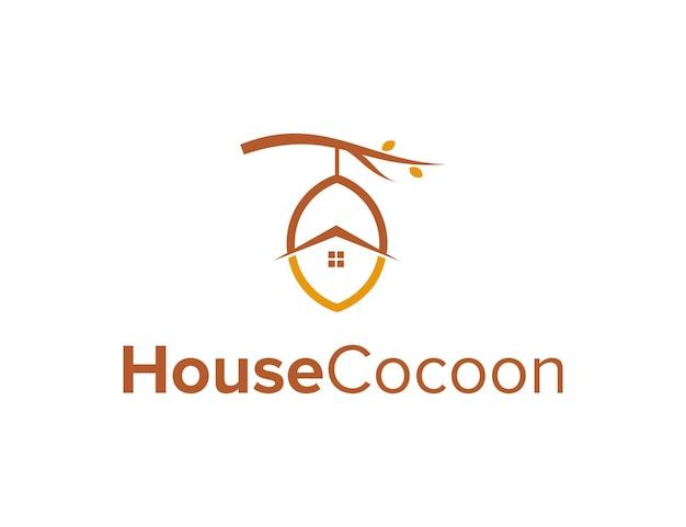 Kokon i dom prosty, elegancki, kreatywny, geometryczny, nowoczesny projekt logo