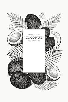 Kokos z liśćmi palmowymi. ręcznie rysowane jedzenie. grawerowana roślina egzotyczna. retro botaniczny tropikalny tło.