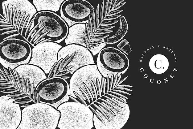Kokos z liśćmi palmowymi. ręcznie rysowane jedzenie na tablicy kredowej.