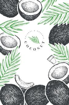 Kokos z liśćmi palmowymi. ręcznie rysowane jedzenie.