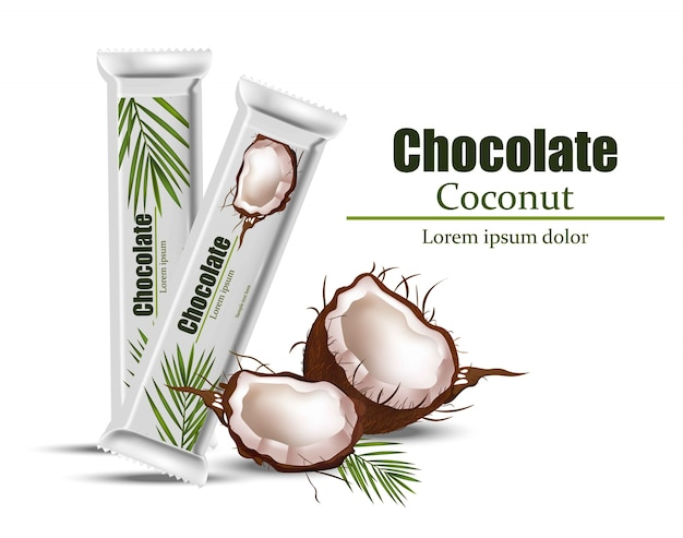 Kokosowa czekolada pakuje egzamin próbny