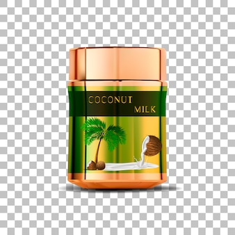 Kokosowego mleka słój na odosobnionym tle z cieniem
