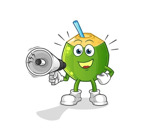 Kokosowy napój trzymający ręczne głośniki. postać z kreskówki