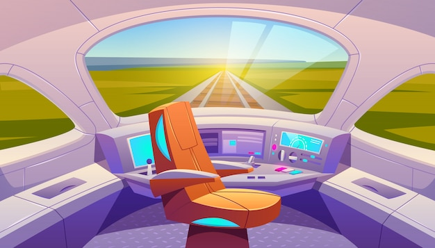 Kokpit pociągu z panelem sterowania i fotelem