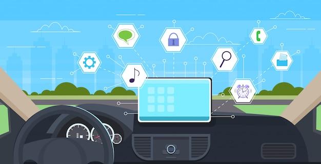 Kokpit pojazdu z aplikacjami inteligentnej pomocy w prowadzeniu samochodu komputer komputer asystent menu pokładzie ekran koncepcja multimedialna nowoczesny samochód wnętrze poziomej