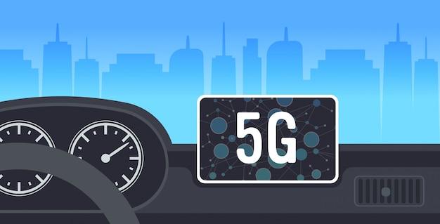 Kokpit pojazdu z inteligentnym wspomaganiem jazdy komputer samochodowy deska rozdzielcza ekran multimedia online system bezprzewodowy połączenie koncepcja nowoczesny samochód wnętrze poziomej