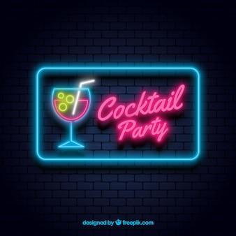 Koktajl bar znak z neon light stylu