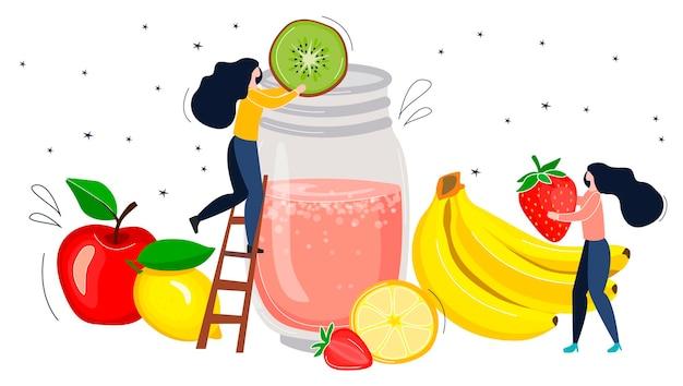 Koktajl detoksykacyjny z owocami. mali ludzie robią zdrowy koktajl. ilustracja w stylu płaskich i ręcznych