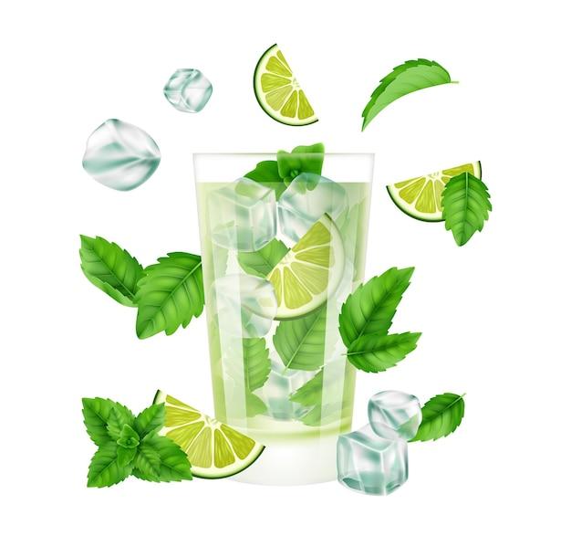 Koktajl mojito. letni napój z lodem, limonką i miętą. realistyczne szklane sezonowe zimne koktajle.