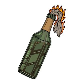 Koktajl mołotowa odosobniona ilustracja.