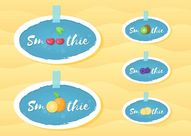 Koktajl owocowy napój okrągły etykieta logo scenografia