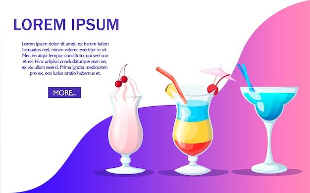 Koktajl pić sok owocowy w dobrym stylu. projekt strony internetowej i aplikacji. miejsce na tekst. ilustracja na kolorowym tle