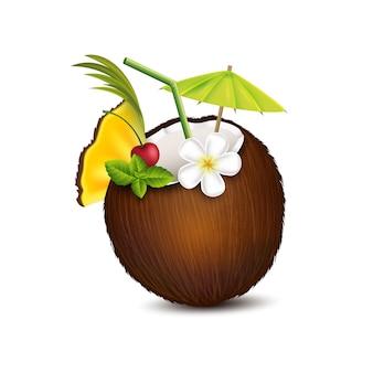 Koktajl tropikalny w kokosie
