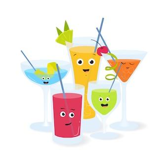 Koktajle alkoholowe w okularach z śmiesznymi uśmiechniętymi twarzami. ilustracja różne drinki i napoje ozdobione owocami i jagodami.