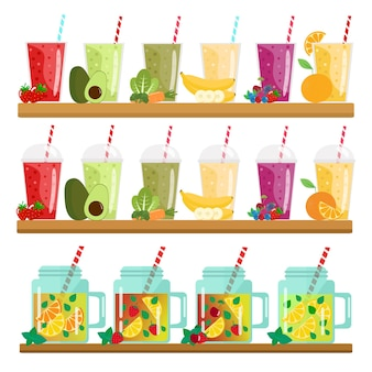 Koktajle kreskówek. pomarańcza, truskawka, jagoda, banan i awokado