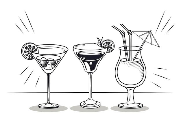 Koktajle kubki ikony napojów alkoholowych