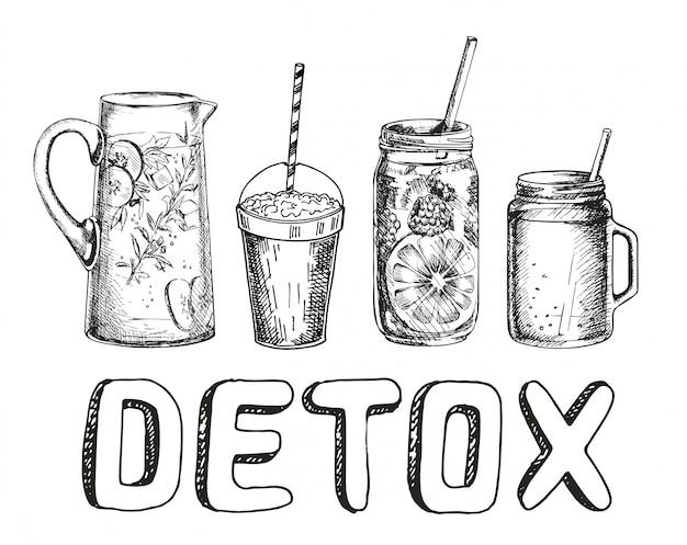 Koktajle lub detox koktajlowy plakat dzień w stylu szkicu. zestaw ręcznie rysowane składniki na koktajl lub napój detoksykacyjny w mason cup, słoik lub dzbanek. zdrowe jedzenie. ilustracja na plakat, baner.