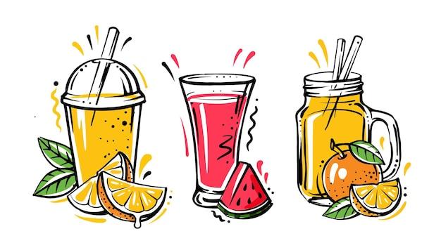 Koktajle lub koktajl detox w stylu szkicu. ręcznie rysowane składniki na koktajl.