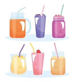 Koktajle owocowe pić na białym tle