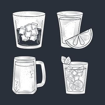 Koktajle piwo strzał z lodem i cytryną, napój alkoholowy, czarne tło wektor cienka linia
