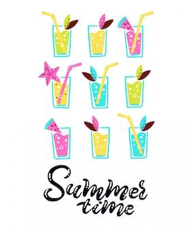 Koktajle tropikalne z koktajlami, z napisem summer time. karta tropikalnych wakacji