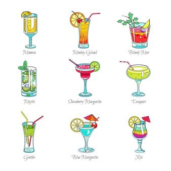 Koktajle w szklankach egzotycznych drinków