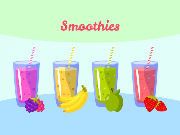 Koktajle z kreskówek. jagodowy bananowy jabłko i truskawka. organiczny shake owocowy