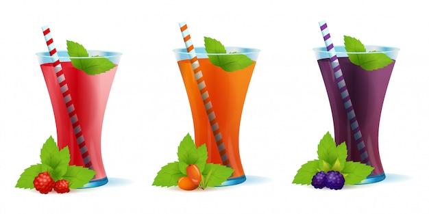 Koktajle zdrowe napoje jagodowe zestaw ilustracji