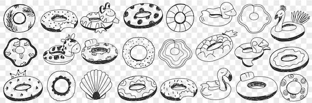 Koła do pływania doodle zestaw ilustracji