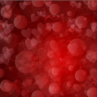 Koła i serca czerwone tło