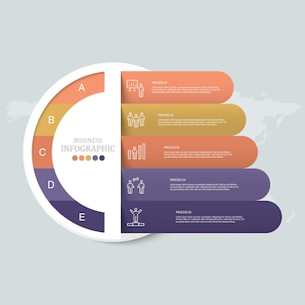 Koła ikony infografikę i robotnika.