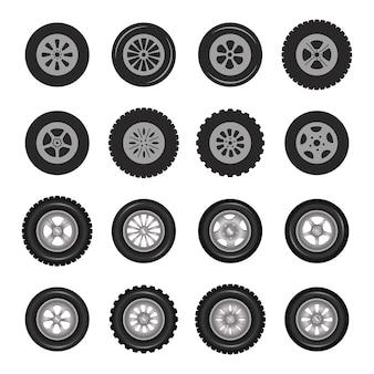 Koła samochodowe ikony szczegółowe zdjęcie realistyczny zestaw.