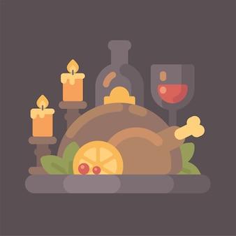 Kolacja dziękczynienia z świece płaskie ilustracja. pieczony indyk i wino