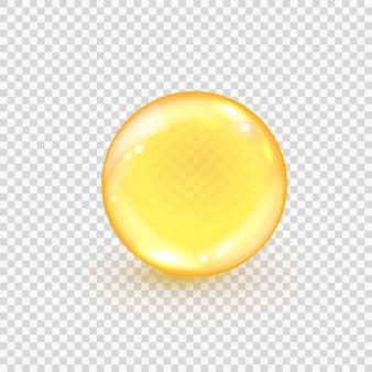 Kolagen złoty bańka na białym tle