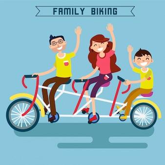 Kolarstwo rodzinne. rodzina jedzie na rowerze. potrójny rower. rower tandemowy. szczęśliwa rodzina. nowoczesny styl życia.