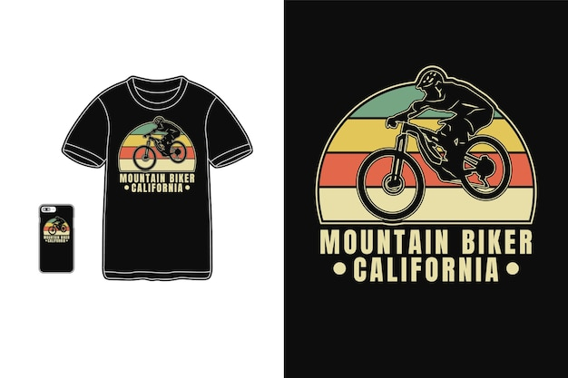 Kolarz górski w kalifornii, t-shirt, sylwetka, typografia