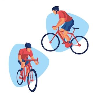 Kolarz wyścigowy sportowcy rowerowi