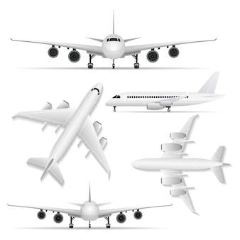 Kolaż białego samolotu z różnych punktów widzenia