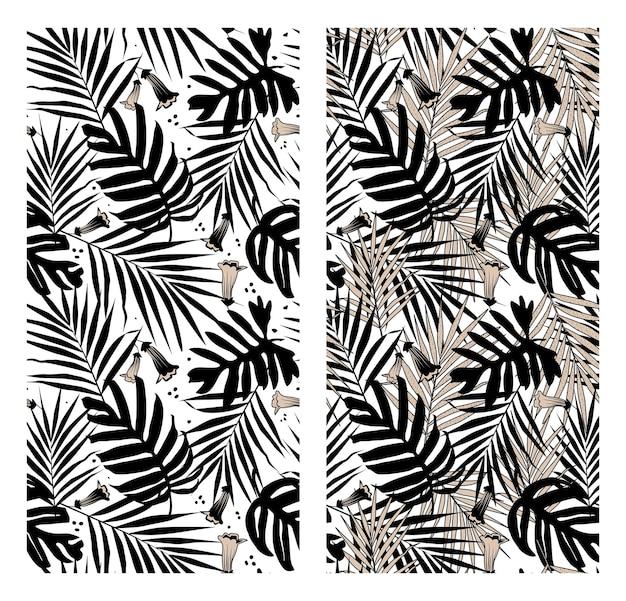 Kolaż czarno-białych tropikalnych liści i kwiatów kształtuje wzór.