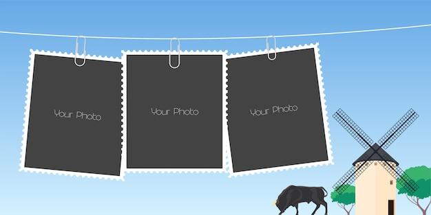 Kolaż ilustracji ramek do zdjęć