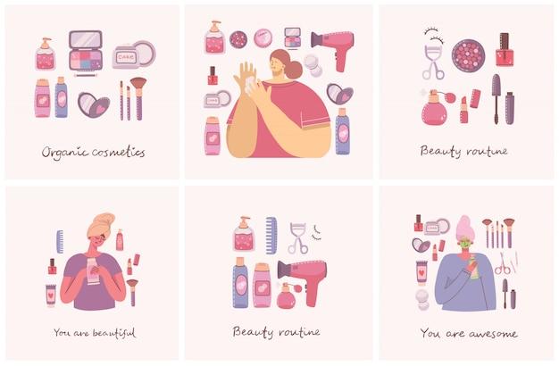 Kolaż ilustracji z kosmetykami i kosmetykami do makijażu w pobliżu dziewcząt. ilustracja w stylu płaski.