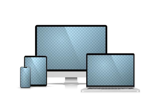 Kolaż laptop telefon komputer typu tablet na białym tle. ilustracja wektorowa