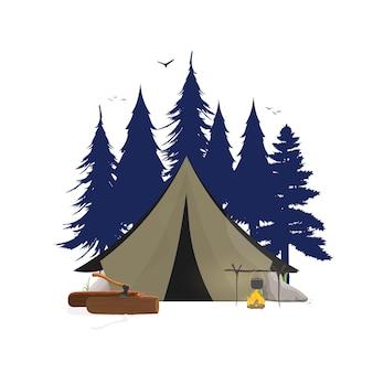 Kolaż na temat biwakowania na ilustracji lasu