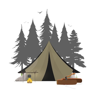 Kolaż na temat biwakowania w lesie. namiot, las, kemping, kłody, siekiera, ognisko. nadaje się do logo, kart, t-shirtów i banerów. odosobniony. .