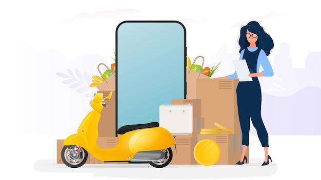 Kolaż na temat dostawy. dziewczyna trzyma listę i pudełko. żółty skuter z półką na żywność, telefonem, złotymi monetami, kartonami, papierową torbą na zakupy.