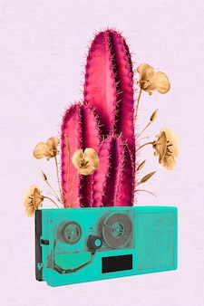 Kolaż retro neonowy wektor kaktusowy, negatywny efekt funky mieszanej sztuki medialnej