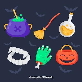 Kolaż różnych elementów halloween na tle nietoperza