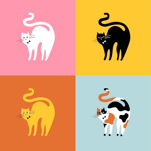 Kolaż różnych ras kotów