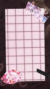 Kolaż telefon tapeta tło wektor, różowa notatka estetyczny papier, cyfrowa sztuka kolażu